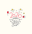 happy new 2020 year doodling style elements and vector image