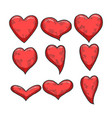 heart symbol set sketch engraving vector image vector image