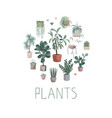 house plants arranged in circle hand drawn vector image vector image