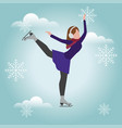 isometric isolated woman skating cross country vector image