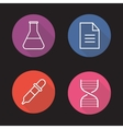 Laboratory flat linear long shadow icons set vector image vector image
