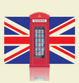 london red telephone booth with united kingdom vector image vector image