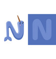 n is for narwhal letter n narwhal cute vector image vector image