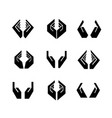 nine black hands in different shapes vector image vector image