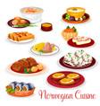 norwegian cuisine national dishes set vector image vector image