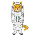 object on white background red cat in a spacesuit vector image