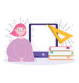 online education student with glasses mobile vector image