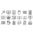 online interactive learning icons set outline vector image vector image