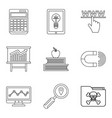 online library icons set outline style vector image