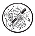 pen on top papers utensil vintage engraving vector image vector image