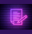 pencil list paper outline icon in neon style vector image vector image