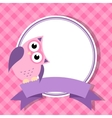 pink frame with owl for invitation card vector image