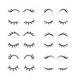 pretty closed eyelashes collection vector image