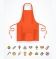 realistic detailed 3d red apron and thin line icon vector image vector image