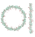 Round Christmas wreath with snow and fir branches vector image vector image