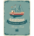 seafood store with fishing boats vector image vector image