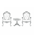 Set of classic furniture with ornaments vector image vector image