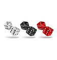 set of falling dice isolated on white vector image vector image