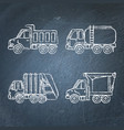 set of truck icons sketches on chalkboard vector image