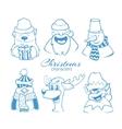 set six christmas holidays vector image vector image