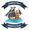 ship with black sails pirate frigate with ribbon vector image vector image