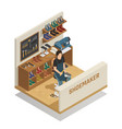 shoe repairing service isometric composition vector image