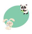 sick rabbit and panda bear having cold flu runny vector image vector image
