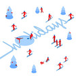 skier has left a trace in form of word holidays vector image vector image
