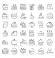 sweets and dessert icon set outline style vector image vector image
