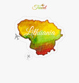 Travel around the world Lithuania Watercolor map vector image vector image