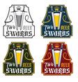 two swords beer vintage labels set vector image vector image
