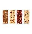 various granola bars isolated on white background vector image vector image