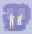 virus disinfection workers with spray to cleaning vector image vector image
