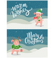 warm wishes and merry christmas greeting cards pig vector image vector image