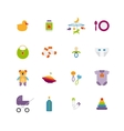Cute color baby icons vector image