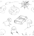 Halloween doodles seamless pattern vector image