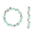 Round Christmas wreath isolated on white vector image