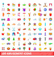 100 amusement icons set cartoon style vector image