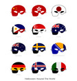12 countries with flag masks for halloween celebra vector image