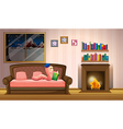 A worm reading a book near the fireplace vector image vector image