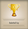 an isolated golden trophy with a basketball ball s vector image