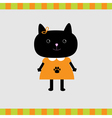 Black cat girl card Card vector image vector image