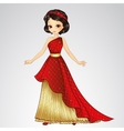 Brunette Princess In Red Dress vector image