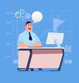 business man sitting desk working computer with vector image vector image