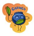 cartoon funny blueberry vector image vector image