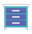 chest of drawers front view in blue and purple vector image