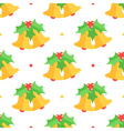 Christmas bell and mistletoe seamless pattern vector image vector image