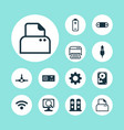 computer icons set with paper printer scan vector image