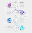 creative infographic with 4 steps and paper arrows vector image