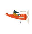 crocodile pilot flying on retro plane in sky vector image vector image